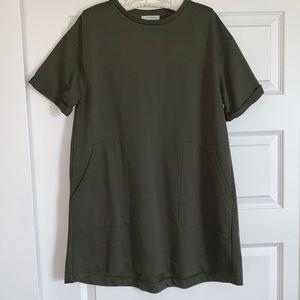 Zara army green mini t-shirt dress with pockets